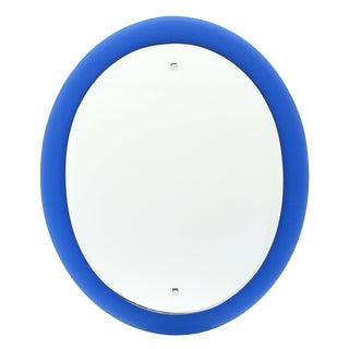 Vintage Cobalt Blue Glass Mirror For Sale