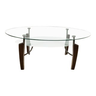 Mid-Century Modern Contemporary Chrome and Glass Top Coffee Table