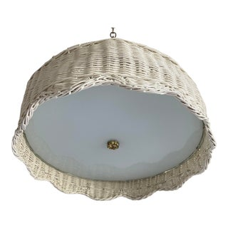 1960s Scalloped Wicker Flush Light For Sale