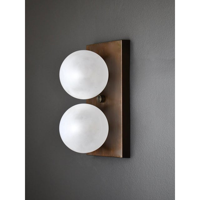 Blueprint Lighting Duo Wall Sconce in Bronze and Blown Opal Glass by Blueprint Lighting, 2020 For Sale - Image 4 of 4