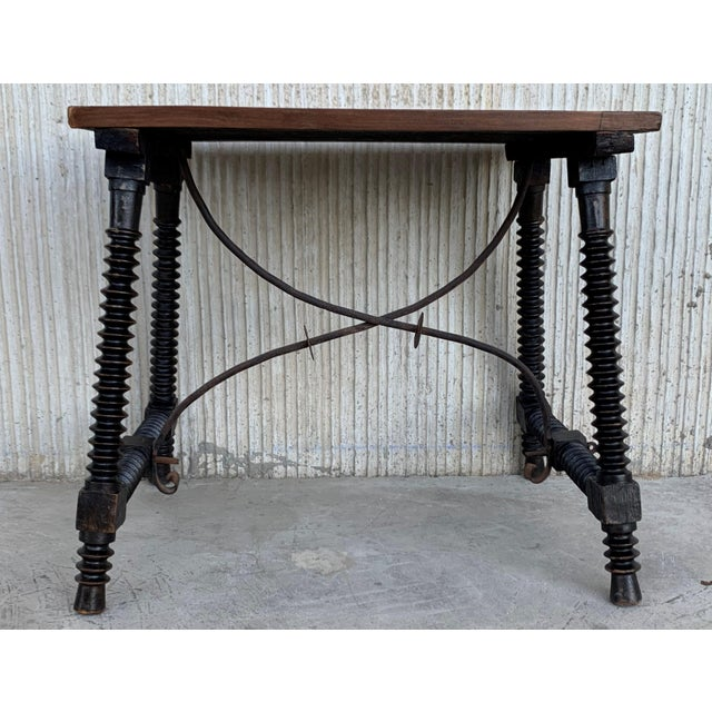 Baroque 19th Century Baroque Spanish Side Table With Marquetry Top & Turned Legs For Sale - Image 3 of 13