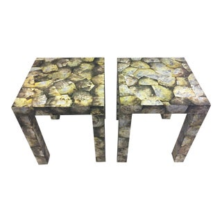 Abalone Shell Mid-Century Modern End Tables - A Pair