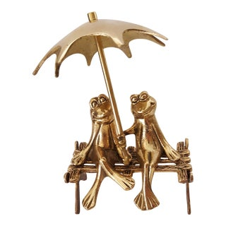 Vintage Brass Frogs on Park Bench With Umbrella For Sale