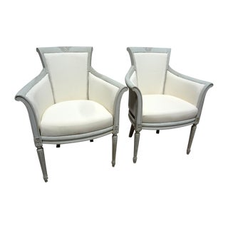 Swedish High Back Barrel Club Chairs - A Pair