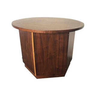 Lane Mid-Century Modern Hexagonal Walnut Side Table