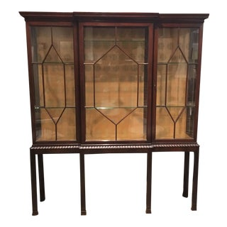 Vintage 1940's Mahogany Display Cabinet For Sale