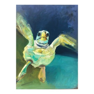 """Baby Turtle"" Oil Painting on Canvas by Artist Ryhan K. For Sale"