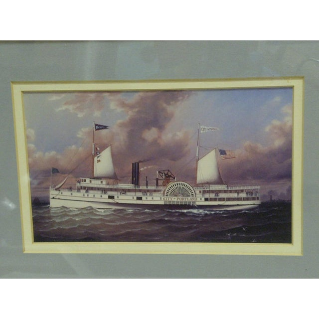 Traditional Circa 1980 Framed Paddle-Wheel Boat Print For Sale - Image 3 of 4