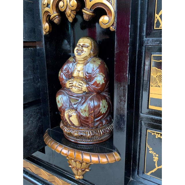 Black 20th Black Lacquer and Hand Painted Open Altar Table or Sideboard For Sale - Image 8 of 13