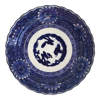 Asian Flow Blue Hand Painted Daisy Large Charger, C.1940 For Sale
