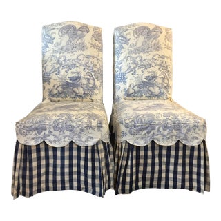 Pair of Shabby Chic Style Blue and White Slipcovered Parsons Chairs