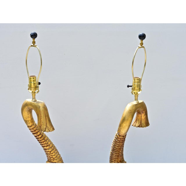 1970s Giltwood Dolphine Lamps - a Pair For Sale - Image 5 of 10