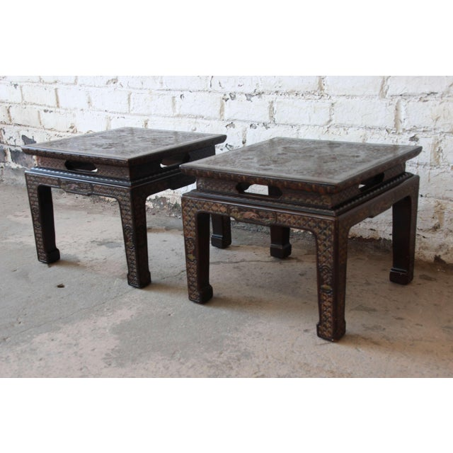 Asian John Widdicomb Asian Faux Tortoise Shell End Tables - a Pair For Sale - Image 3 of 11