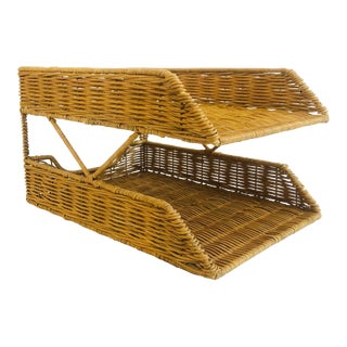 Vintage Wicker Two Tier Paper Tray Organizer For Sale
