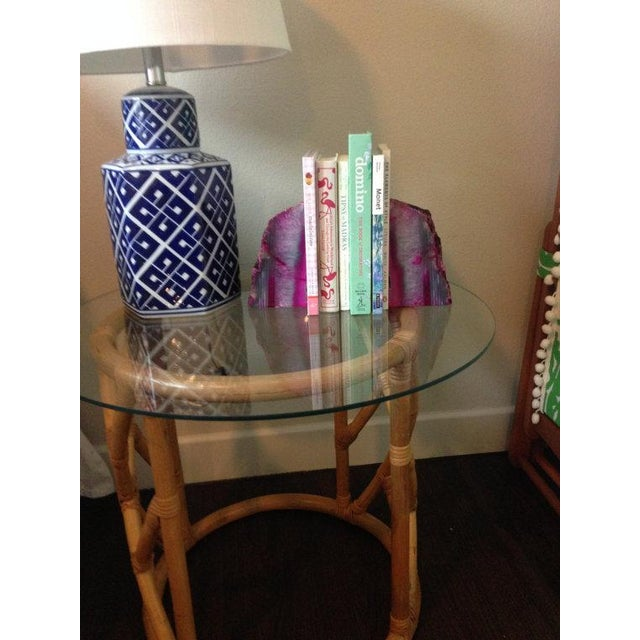 Large Pink and White Agate Geode Bookends - Pair - Image 3 of 6