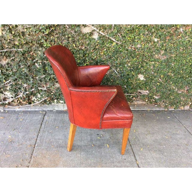Mid-Century Modern Vintage Red Leather Side Chair For Sale - Image 3 of 9
