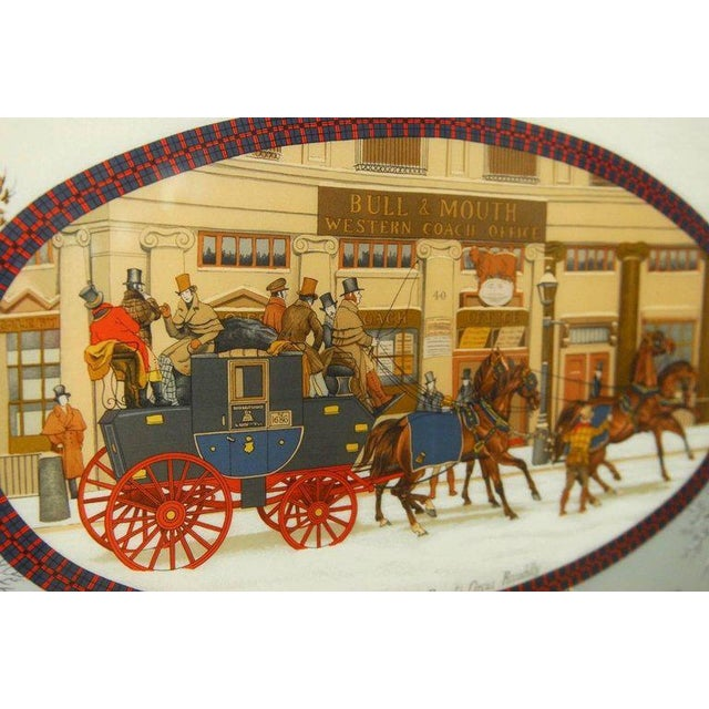 "Red Framed Hermes Scarf ""Bull and Mouth Regent's Circus Piccadilly"" For Sale - Image 8 of 10"