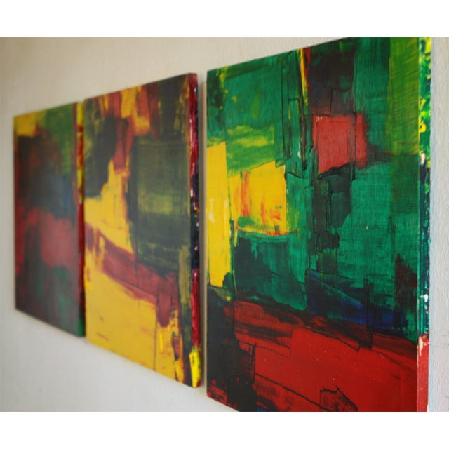 Red, Green & Yellow Abstract Modern Acrylic - Image 3 of 3