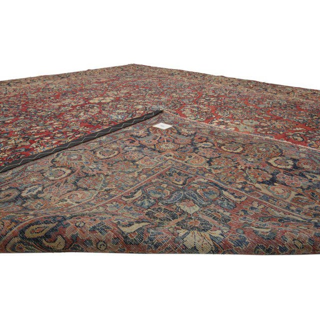 Art Nouveau 1900s Antique Persian Sarouk Neoclassical Style Rug- 8′10″ × 11′10″ For Sale - Image 3 of 5