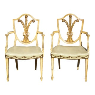 1960s Vintage Unique Ornate Hepplewhite Shield Back Arm Chairs- A Pair For Sale