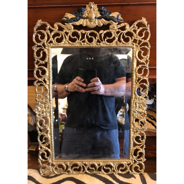French Antique French Dore Bronze Reticulated Mirror W Ebonized Angels For Sale - Image 3 of 5