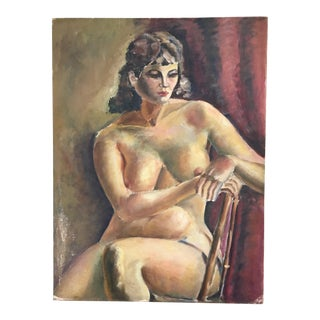 1930s Vintage Nude Woman Oil Painting For Sale