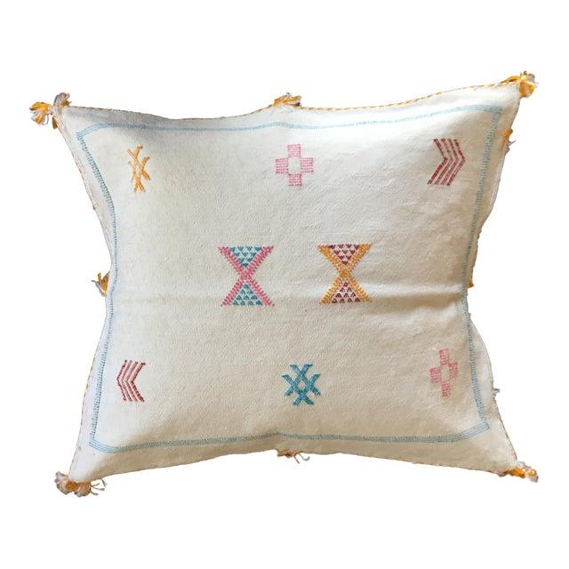 White Moroccan Sabra Cactus Silk Pillow Cover - Image 1 of 4