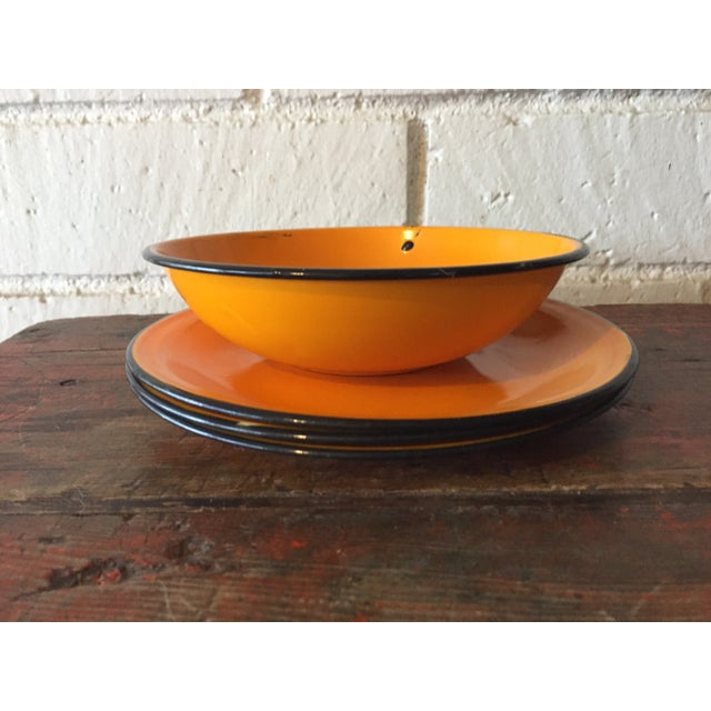 5-Piece Orange & Black Rim Enamelware - Image 3 of 8