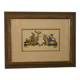 Vintage Jousting Knights Ink & Watercolor Giclee Print Framed Matted Under Glass For Sale