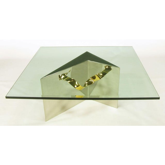Custom Artisan Chrome, Brass, And Glass Coffee Table - Image 2 of 10