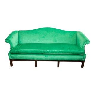 1960s Vintage Velvet Emerald Green Sofa For Sale