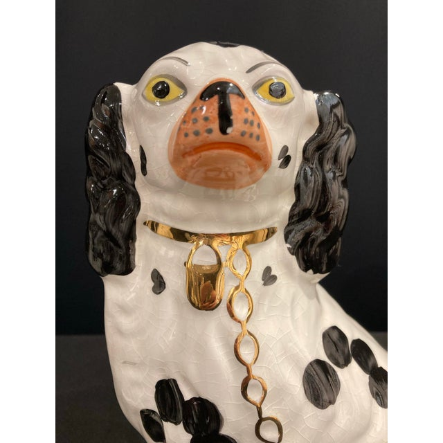 Victorian Vintage Early 20th Century English Staffordshire Black and White Dog Figurines - a Pair For Sale - Image 3 of 13