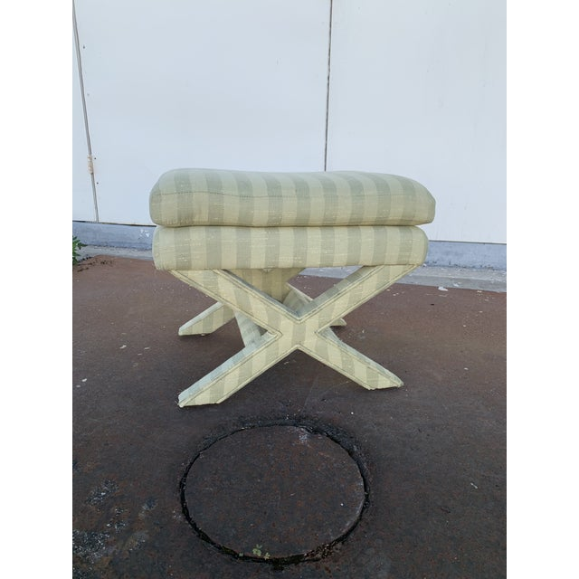 Textile Parson's Chair With X -Base Ottoman For Sale - Image 7 of 11