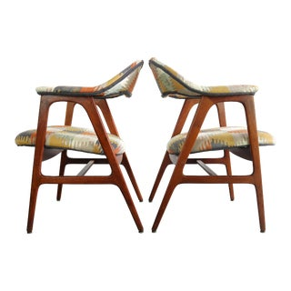 1960s Danish Modern Side Chairs in Southwestern Print Denmark - a Pair For Sale