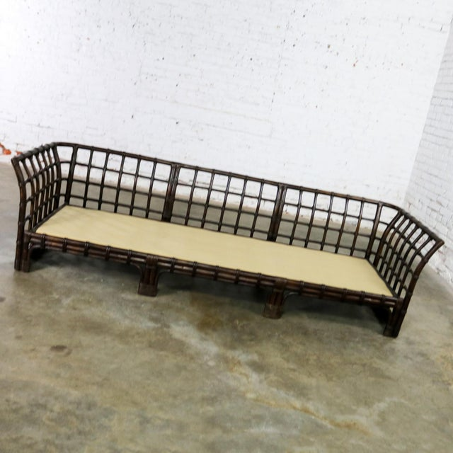 Late 20th Century Brown Jordan Windowpane Dark Brown Rattan Sofa With Straw Colored Cushions For Sale - Image 5 of 13