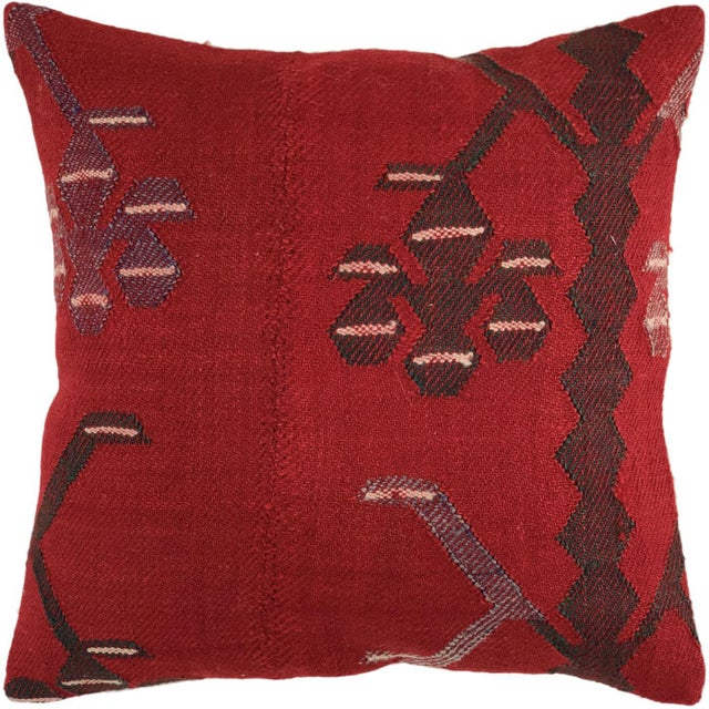 """Mid-Century Modern Rich Red Kilim Pillow   16"""" For Sale - Image 3 of 3"""