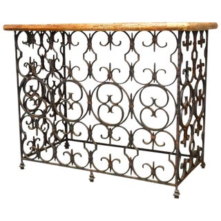Quatrefoil Wrought Iron and Italian Marble Console Table For Sale