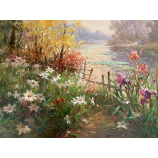 """""""Garden by the River"""" Oil Painting For Sale"""