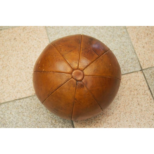 Brown Vintage leather medicine ball by Platura For Sale - Image 8 of 11