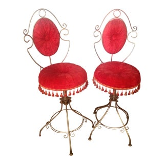 1950s Hollywood Boudoir Red Velvet Side Chairs - a Pair