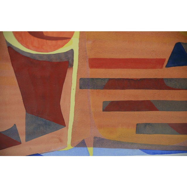 """Katherine Barieau (1917-2010) """"Child's Room"""" Abstract Watercolor C.1967 For Sale - Image 4 of 10"""