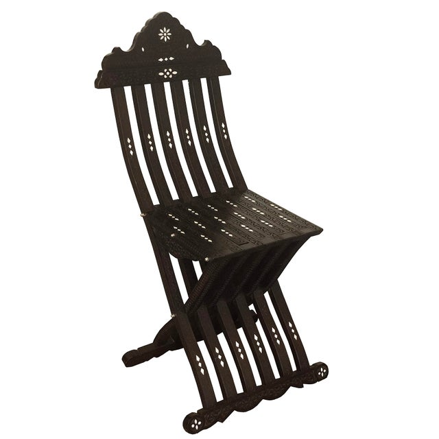 Black Moroccan Style Hand Carved With Mother of Pearl Inlay Folding Chair For Sale - Image 8 of 8