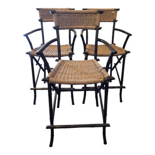 Late 20th Century Vintage Chinoiserie Metal Bamboo Style Counter Stools- Set of 3 For Sale
