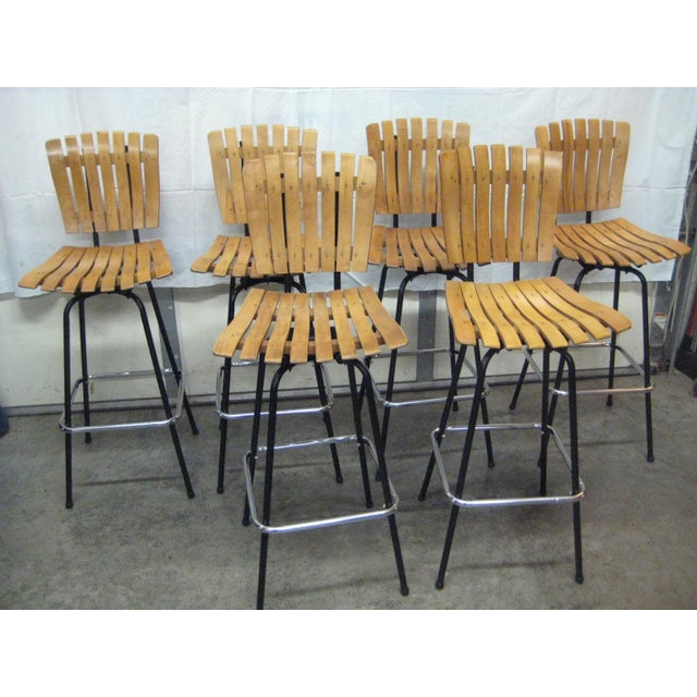 Brown Mid-Century Arthur Umanoff Bar Stools - Set of 6 For Sale - Image 8 of 8
