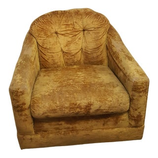 Mid-Century Mustard Yellow Crushed Velvet Club Chair For Sale
