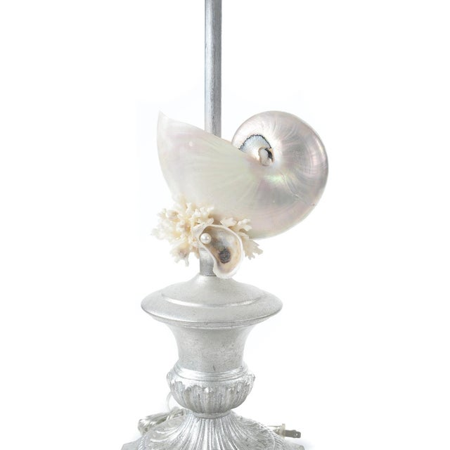 Silver Seashell Table Lamps - A Pair - Image 3 of 8