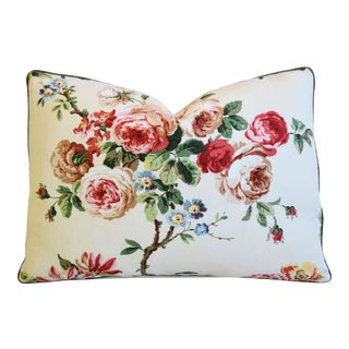 "Brunschwig & Fils Floral Botanical Roses Feather/Down Pillow 22"" X 15"" For Sale"