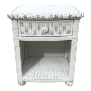 Vintage White Wicker Night Stand For Sale