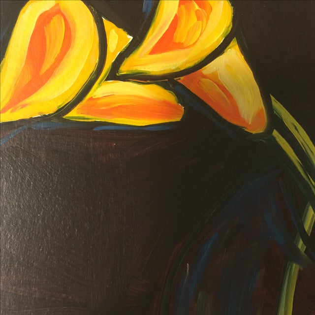 """P. Corthouts """"Callas in Burgundy"""" Acrylic Painting - Image 7 of 9"""