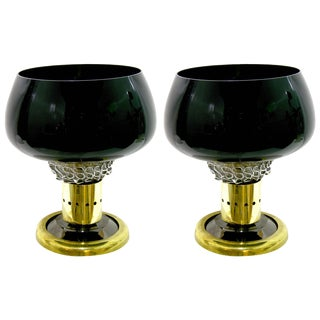 1980s Seguso Vetri d'Arte Italian Grand Brass Black Murano Glass Lamps - a Pair For Sale